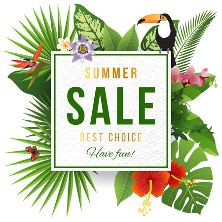 Summer sale emblem wirh tripical plants Stock Illustratie