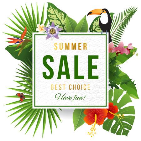 Zomer verkoop embleem met drievoudige planten Stock Illustratie