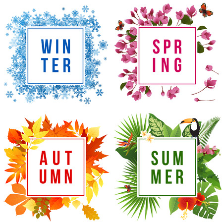 Four seasons banners set with leaf illustration on white background.