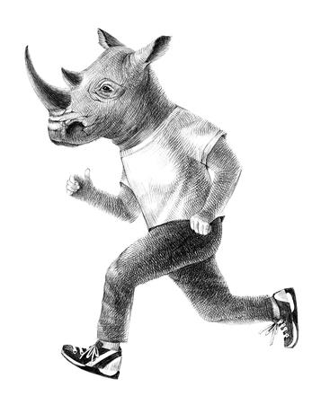 Dressed up rhino running 版權商用圖片 - 95033490