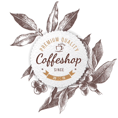 Coffee shop paper emblem Vector illustration. Çizim