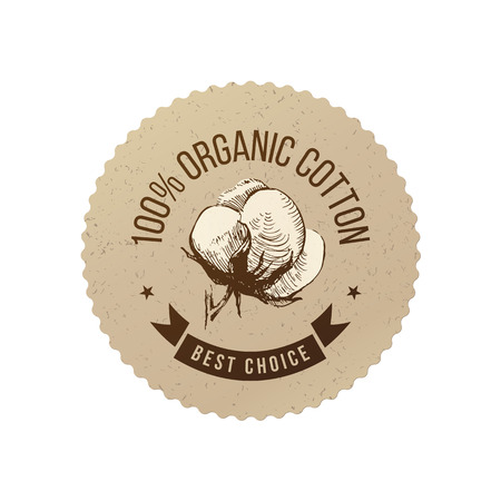 Organic cotton emblem Vector illustration.