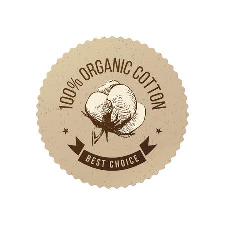 Organic cotton emblem Vector illustration.