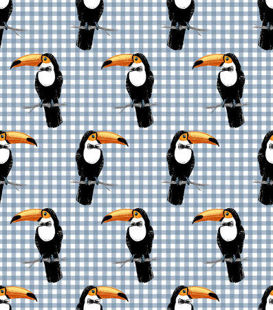 Seamless pattern with toucan hipster