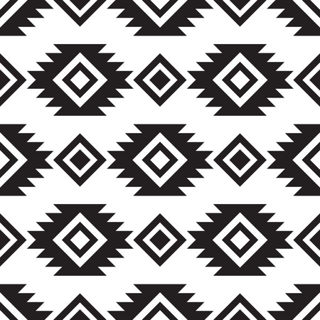 Seamless tribal black and white pattern  イラスト・ベクター素材