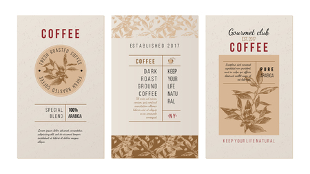 3 banners for coffee trademak in vintage style with hand drawn coffee plant Illustration