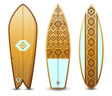 Wooden surfboards set