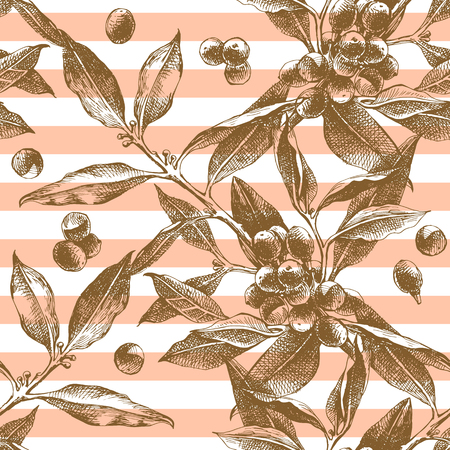 Seamless pattern with hand drawn coffee branches Stock Illustratie
