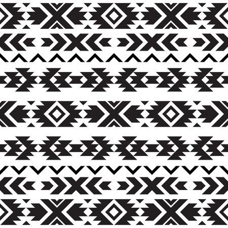 Naadloze tribal zwart-wit patroon