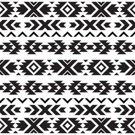 Seamless tribal black and white pattern Vectores