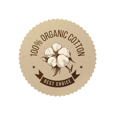 Organic cotton emblem Stock Illustratie