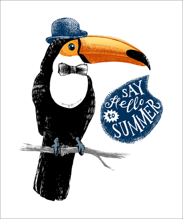 Card with hand drawn toucan hipster 일러스트