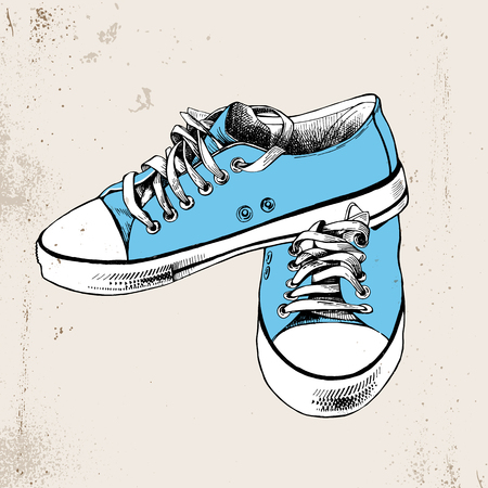 Pair of hand drawn blue sneakers