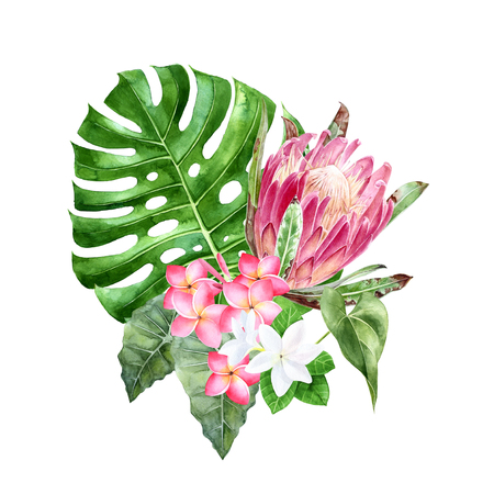 Bouquet of watercolor tropical flowers and leaves