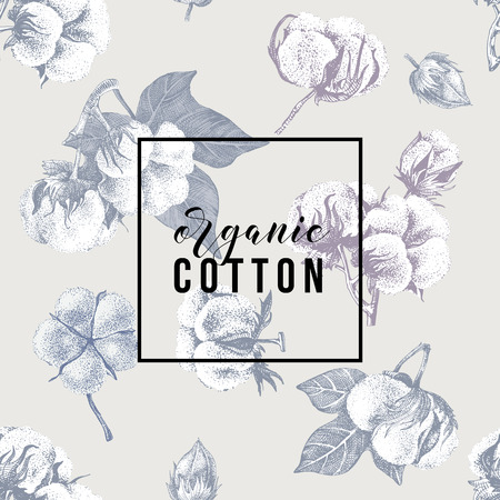 Organic cotton type over hand drawn cotton seamless background