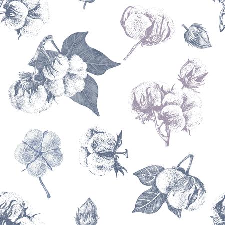 Cotton seamless pattern Фото со стока