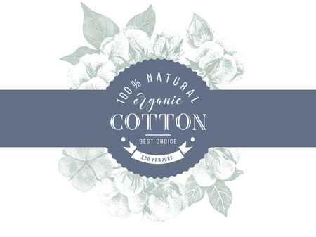 cotton emblem over hand drawn cotton branches Imagens