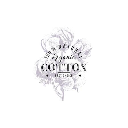 type design over hand drawn cotton branch