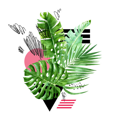 Watercolor jungle group of plants with grunge scribbles, dots and geometry detailes