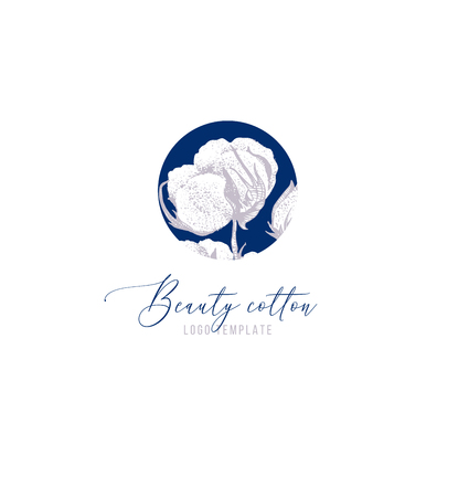 Beauty cotton logo template Stock Illustratie