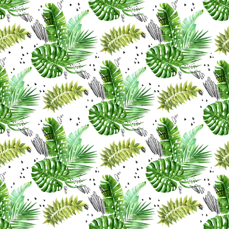 Watercolor jungle bouquettes with grunge scribbles and dots seamless pattern