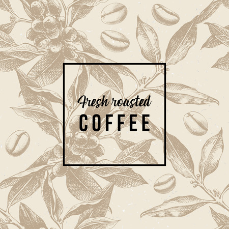 Seamles pattern with coffee plant, beans and type design - Fresh roasted coffee. Vector illustration Çizim