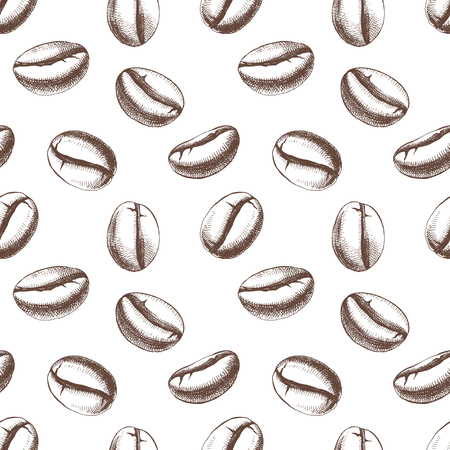 Seamless pattern with hand drawn coffee beans. Vector illustration in retro style Vecteurs