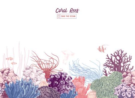 Ręcznie rysowane kolorowe bezszwowe obramowanie koralowców. Ilustracja wektorowa