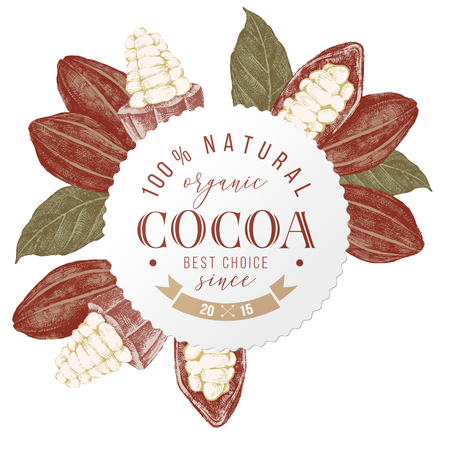 Round emblem with type design (100 percent natural organic cocoa. Best choice. Sinc 2015) over hand drawn cocoa beans and branches. Highly detailed vector illustration