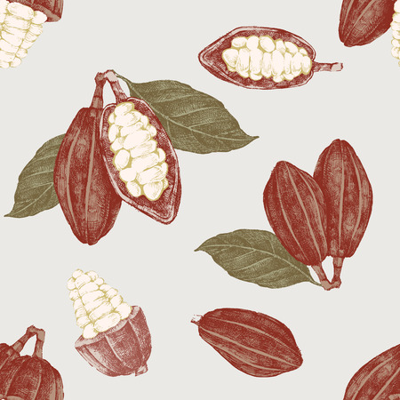 Seamless pattern with cocoa beans and branches
