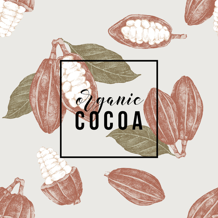 Seamless pattern with cocoa beans and branches and type design (organic cocoa). Vector illustration in vintage style Illustration