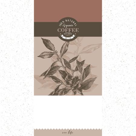 Banner with type design and hand drawn coffee tree branch. Vector illustration Çizim