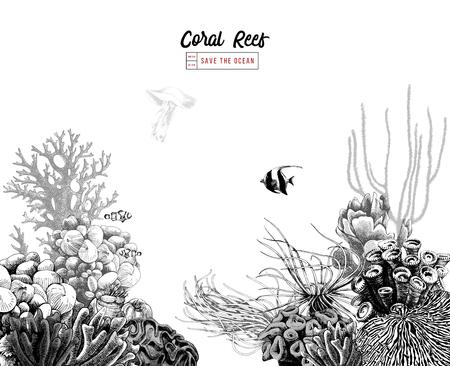 Arrecife de coral dibujado a mano con peces tropicales Ilustración de vector