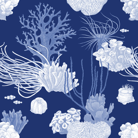 Seamless pattern with colorful hand drawn coral reef on dark blue background. Vector illustration in vintage style Vettoriali