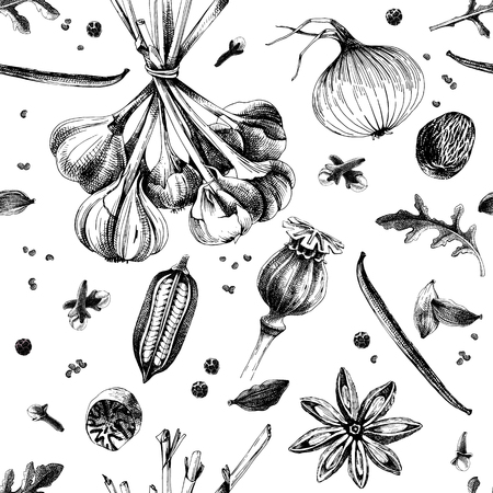 Hand drawn seamless pattern with spices. Vector illustration in vintage style