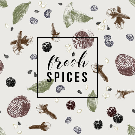 Seamless pattern with spices and emblem - fresh spices. Vector illustration in retro style