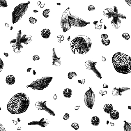 Black and white seamless pattern with hand drawn spices. Vector illustration in retro style