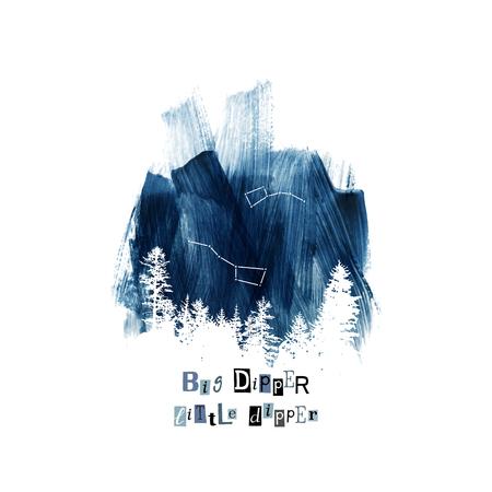 Costellazioni di Big Dipper e Little Dipper nel cielo blu scuro disegnato a mano. Illustrazione vettoriale