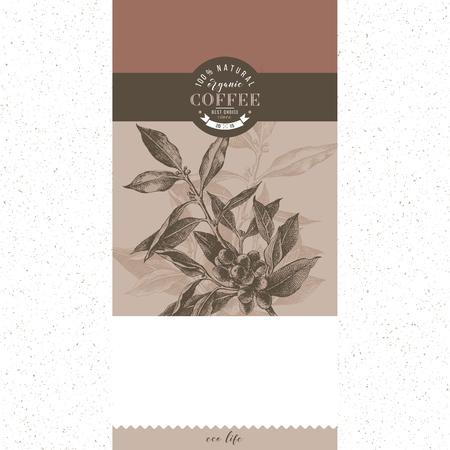 Banner con type design e ramo della pianta del caffè disegnato a mano. Illustrazione vettoriale