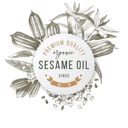 Emblema con diseño tipográfico - aceite de sésamo orgánico de primera calidad desde 2015 - sobre semillas y plantas de sésamo dibujadas a mano