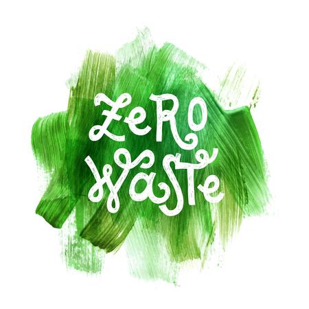 Scrittura di rifiuti zero su sfondo verde disegnato a mano. Illustrazione vettoriale. Concetto di eco Vettoriali
