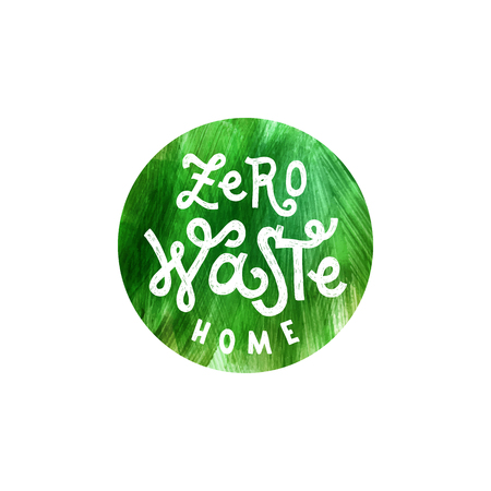 Letras de cero residuos sobre fondo verde dibujado a mano. Ilustración vectorial Concepto ecológico