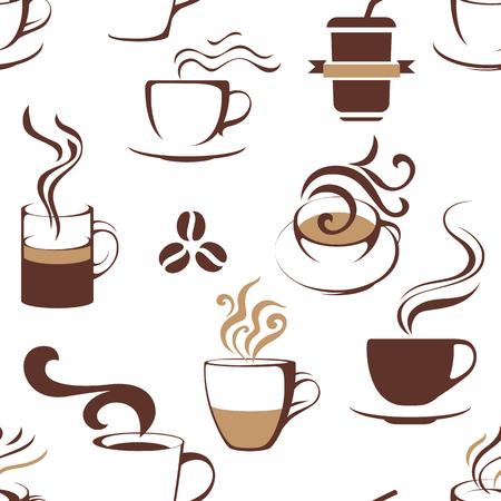 コーヒーカップとのシームレスなパターン。ベクトル図