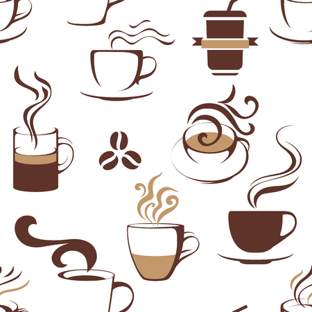 Seamless pattern with coffee cups. Vector illustration