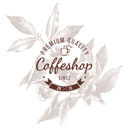 Coffeshop round emblem over hand sketched coffee plant branch
