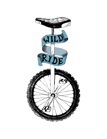Hand drawn black and white monocycle with ribbon and type design - wild ride. Vector illustration