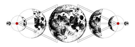 Magische manen tatoeage Vector Illustratie