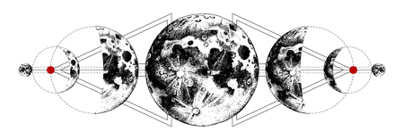 Tatouage de lunes magiques Vecteurs