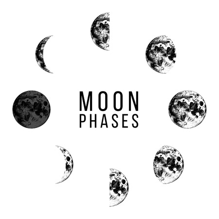 Moon phases icons - whole cycle from new moon to full moon. Hand drawn illustration in retro style