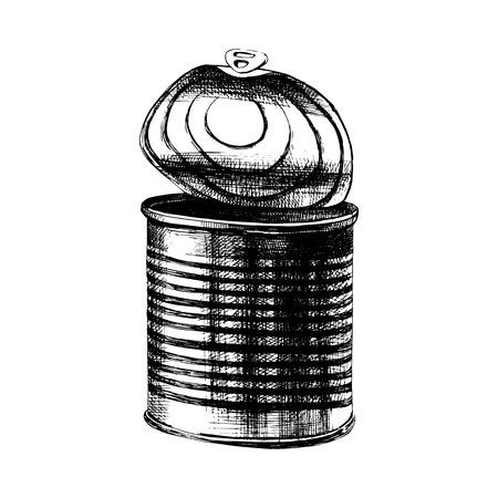 Ancienne boîte de conserve dessinée à la main avec le dessus ouvert. Illustration vectorielle